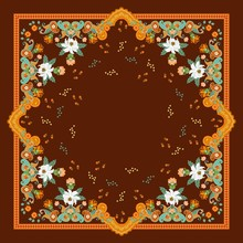 Beautiful Ornament With Paisley, Leaves  And Flowers In Green And Orange Tones On Brown Background. Square Shawl. Indian Motives.