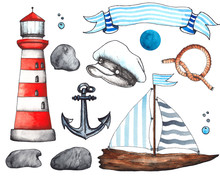 Watercolor Nautical Collection...