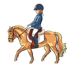 Vector Illustration Of A Young Rider Trotting On A Cute Pony.