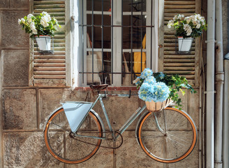 Fototapeta na wymiar Shutters of a house in the town Antibes nicely decorated with colorful flower pots and the wall with a bicycle