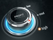 High Profit level concept - Profit level control button on high position. 3d rendering