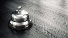 Service, Hotel Concept. Silver Reception Bell - 3d Illustration