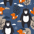 Seamless pattern, bears and foxes, trees and clouds, hand drawn overlapping backdrop. Colorful background vector. Illustration with animals. Decorative wallpaper, good for printing
