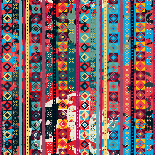 Photo sur Aluminium Style Boho Ethnic boho seamless pattern