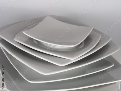 Fotografie, Obraz  stack of noble white porcelain plates