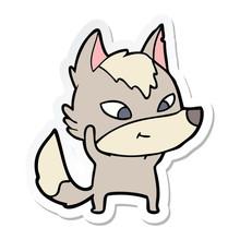 Sticker Of A Friendly Cartoon Wolf