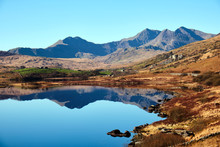 Mount Snowdon And Llynnau Lake...
