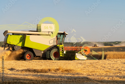 Aufkleber - A modern combine harvester harvests wheat using a head-up display and the Internet of things in agriculture.