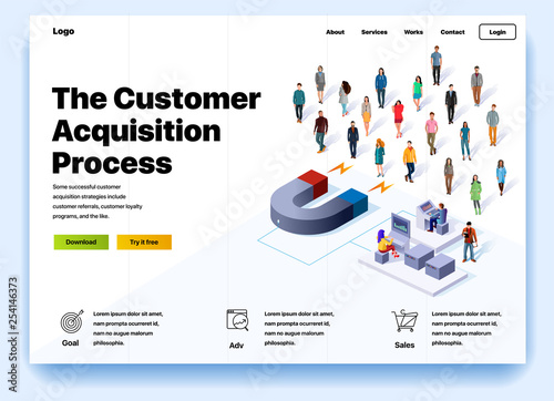 Website providing the service of the customer acquisition process Canvas Print
