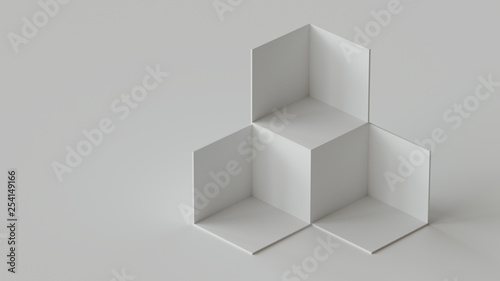 White cube boxes backdrop display on white background Canvas Print