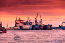 Two Ships In Dry Repair Dock