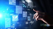 Business Intelligence Analyst Dashboard On Virtual Screen. Big Data Graphs Charts.