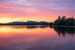 Sunset on a lake in Hohenrode in Germany