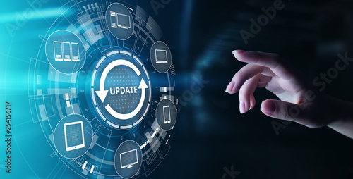 Fotomural  Update System Upgrade Software version technology concept on virtual screen