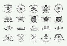 Set Of Vintage Hockey Emblems,...