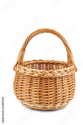 Fotografie, Obraz  Empty wicker basket on white background