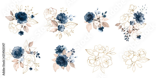 Fényképezés  Set watercolor design elements of roses collection garden navy blue flowers, leaves, gold branches, Botanic  illustration isolated on white background