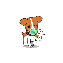 Vector Cartoon Cute Dog Wearin...