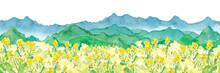 菜の花畑と連なる山