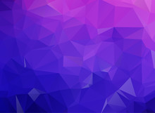 Blue Purple Geometric Rumpled Triangular Low Poly Origami Style Gradient Illustration Graphic Background. Vector Polygonal Design For Your Business.