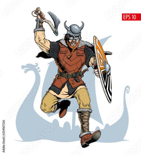 Photo Viking with ax and shield attacks