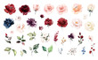 canvas print picture - Set watercolor elements of roses collection garden red, burgundy flowers, leaves, branches, Botanic  illustration isolated on white background.