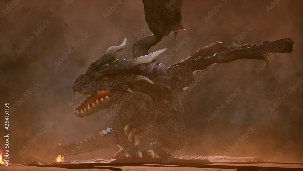 Fototapeta A big angry dragon in the desert is fighting off its enemies. 3D Rendering