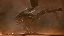A Big Angry Dragon In The Desert Is Fighting Off Its Enemies. 3D Rendering