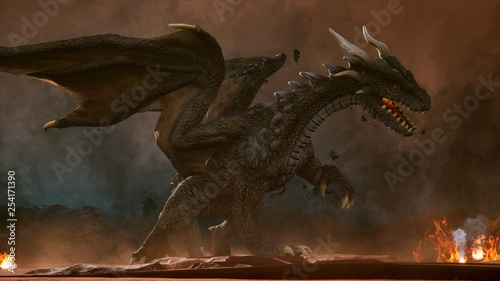 A big angry dragon in the desert is fighting off its enemies Canvas Print