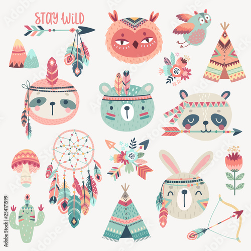 Cute Woodland boho tribal characters, rabbit, owl, sloth, panda,bear фототапет