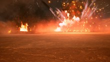 The Battlefield In The Smoke In The Middle Of Explosions On An Uncharted Planet. 3D Rendering