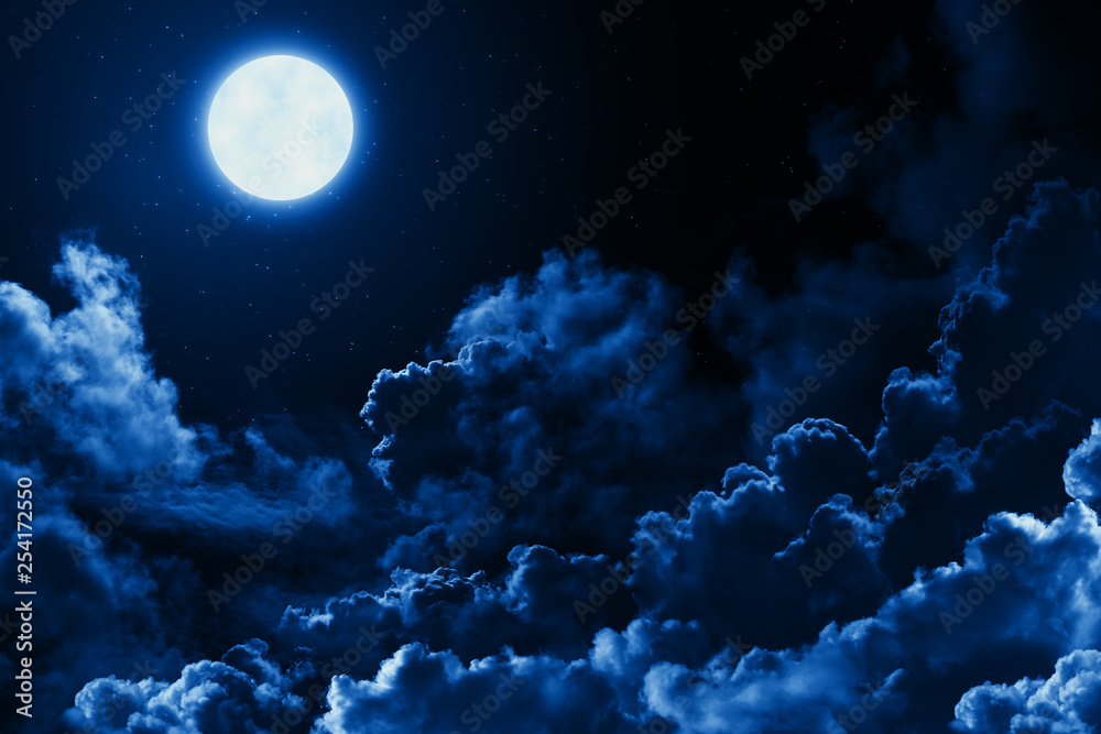Fototapety, obrazy: Mystical bright full moon in the midnight sky with stars surrounded by dramatic clouds. Dark natural background with twilight night sky with moon and clouds
