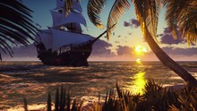 A Large Medieval Ship At Sea At Sunset. An Ancient Medieval Ship Moored Near A Desert Tropical Island. 3D Rendering