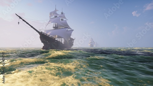 In de dag Schip Medieval Wooden boats on the sea on a Sunny day. Pirates sailing down the sea on a ship. 3D Rendering