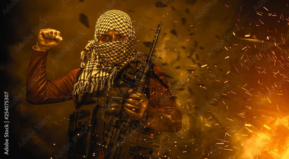 Fototapeta rebel militant terrorist guerrilla concept