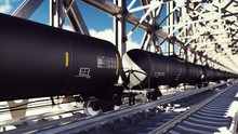 Rail Tank Cars With Oil On The...