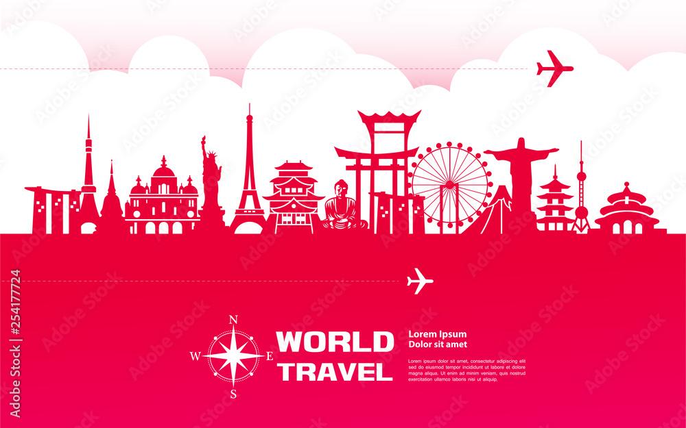 Fototapeta Travel around The World vector illustration.