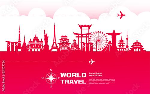 Foto  Travel around The World vector illustration.