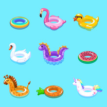 Swimming Rings. Inflatable Float Buoy Kid Toys Float Ring Lifebuoy Rescue Belt Duck Beach Pool Swim Summer Vacation