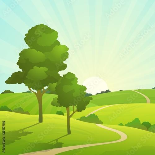 55fb92ab91b3b Summer field landscape. Nature hills fields blue sky clouds sun  countryside. Green tree and grass rural land