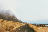 Foggy mountains road landscape in Norway Travel background scenery nature calm misty view minimal style - 254184985