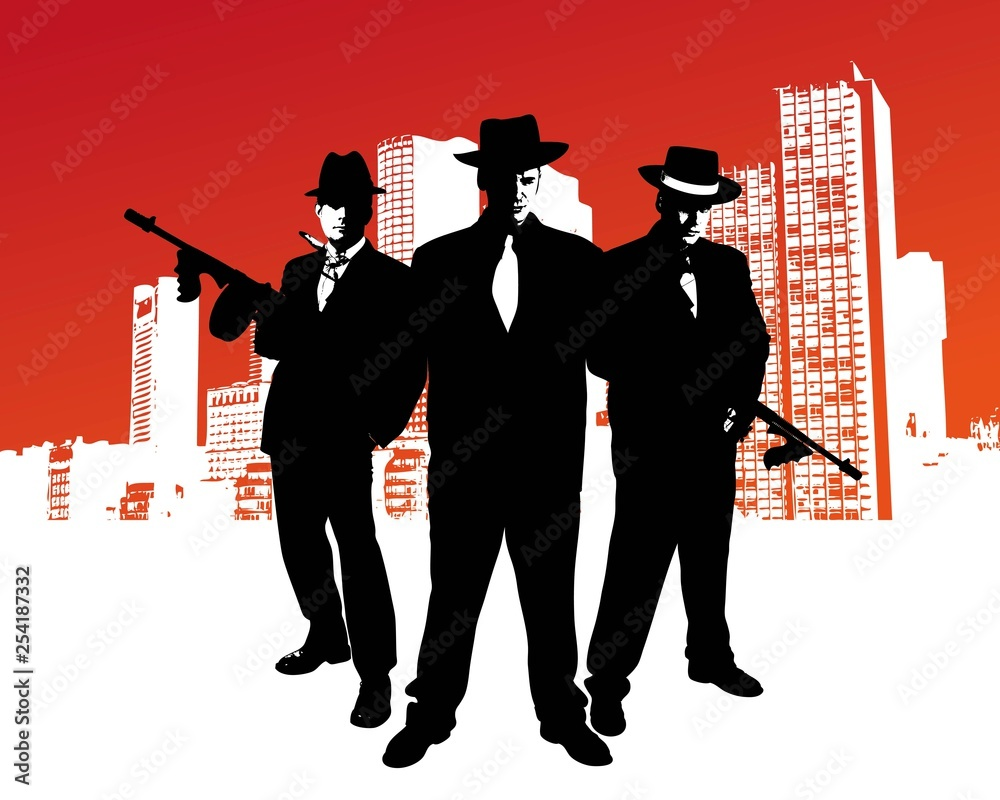 Fototapeta Mafia boss with machine gun stands in front of skyline of a city with design elements in the background