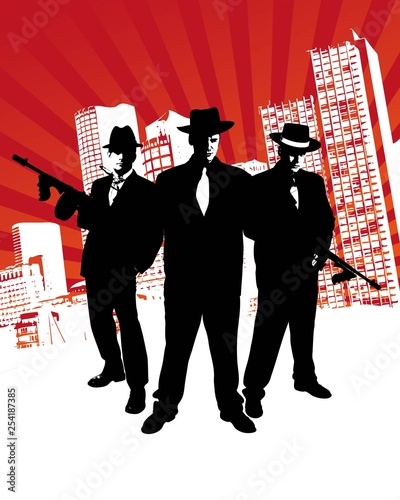 Mafia boss with machine gun stands in front of skyline of a city with design ele Tablou Canvas
