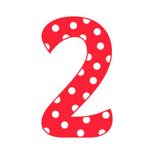 Hand Drawn Vector 2 Two Number With Polka Dots