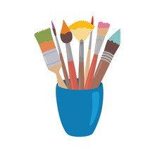Paint Brushes With Colored Paint In Cup. Cartoon Style Design Element For Artist Workplaceeinterior, School Class, Desk Top