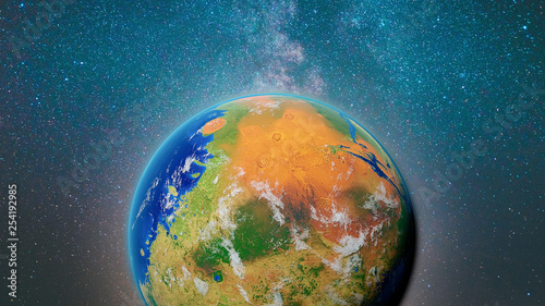 Fototapety, obrazy: terraforming Mars, the red planet with plants, water and oxygen atmosphere (3d space render, elements of this image are furnished by NASA)