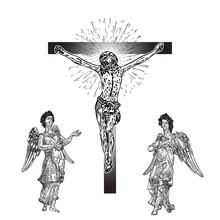 Sad, Winged Angels Near Jesus Christ Crucifixion, New Age Interpretation, Son Of God. Flesh Tattoo Reference. Good Friday. Vector.