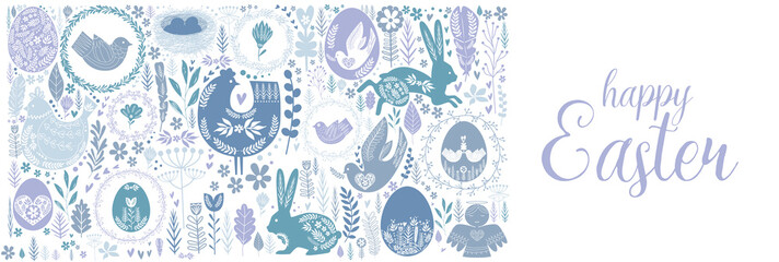 Happy Easter greeting poster in Scandinavian style. Editable vector illustration