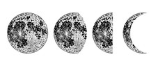 Moon Phases. Hand Drawn Cresce...