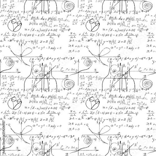 Mathematical seamless texture with handwritten math, algebra